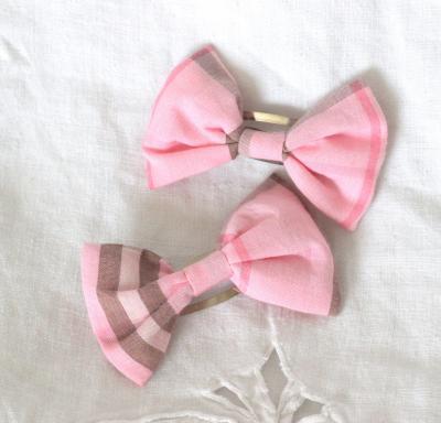 Barrettes Noeuds en tartan de coton rose