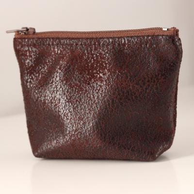 Porte monnaie ou petite pochette en tissu d'ameublement marron foncé et Liberty Margaret Annie