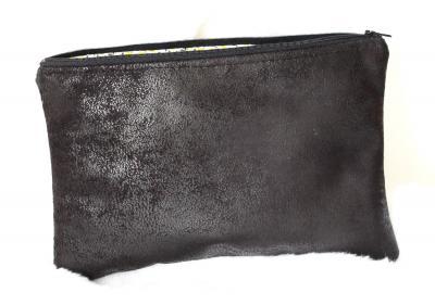 Grande pochette pour tablette, en faux cuir d'ameublement noir et Liberty of London Ed