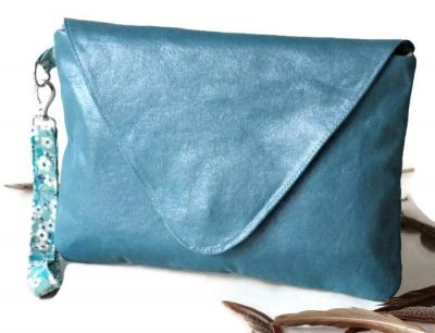 Pochette, sac à main avec dragonne amovible, en faux cuir ameublement bleu azur et Liberty Mitsi Menthe à l'eau