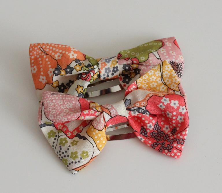 Barrettes Noeuds en Liberty Mauvey orange