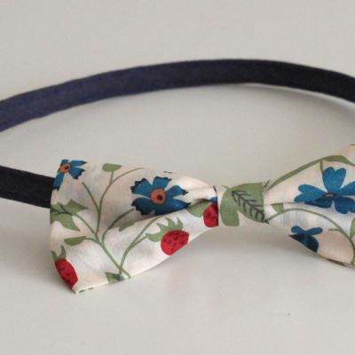 Serre-tête bleu marine et noeud en Liberty Mirabelle bleu et rouge