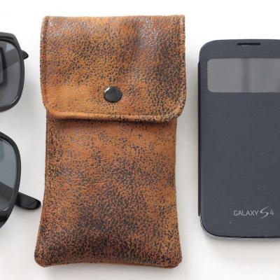 Etui lunettes ou smartphone en faux cuir ameublement, marron clair et Liberty
