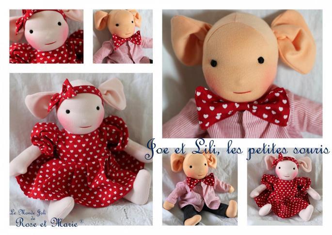 Les petites souris le monde joli de rose et marie