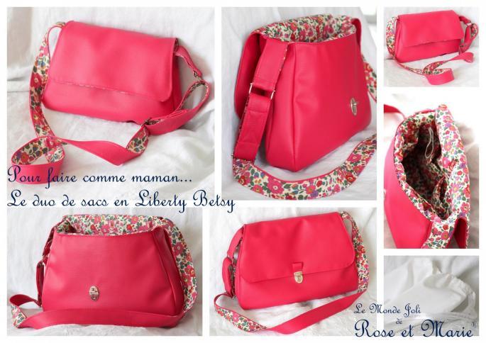 Les sacs en liberty besty le monde joli de rose et marie