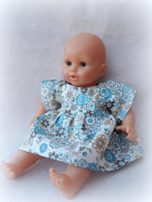 Ensemble pour bébé 36 cm - Robe et culotte en Liberty Lauren