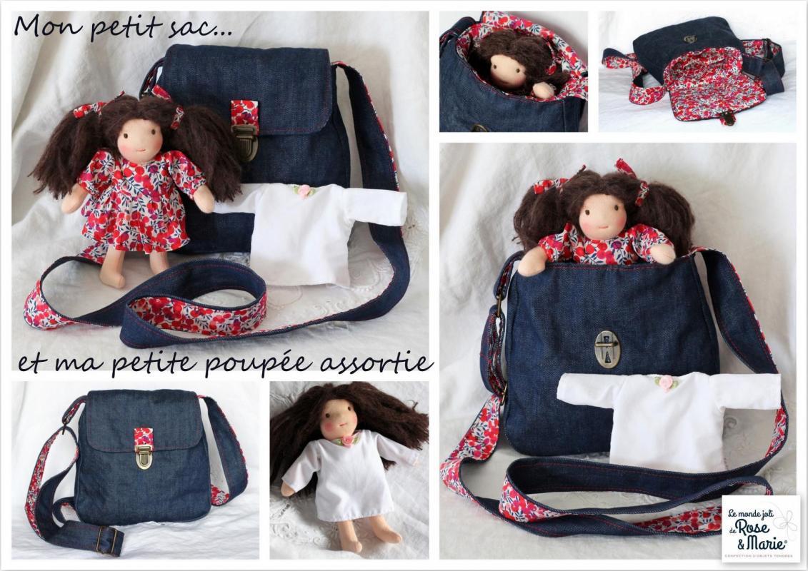 Petit sac et poupee le monde joli de rose et marie