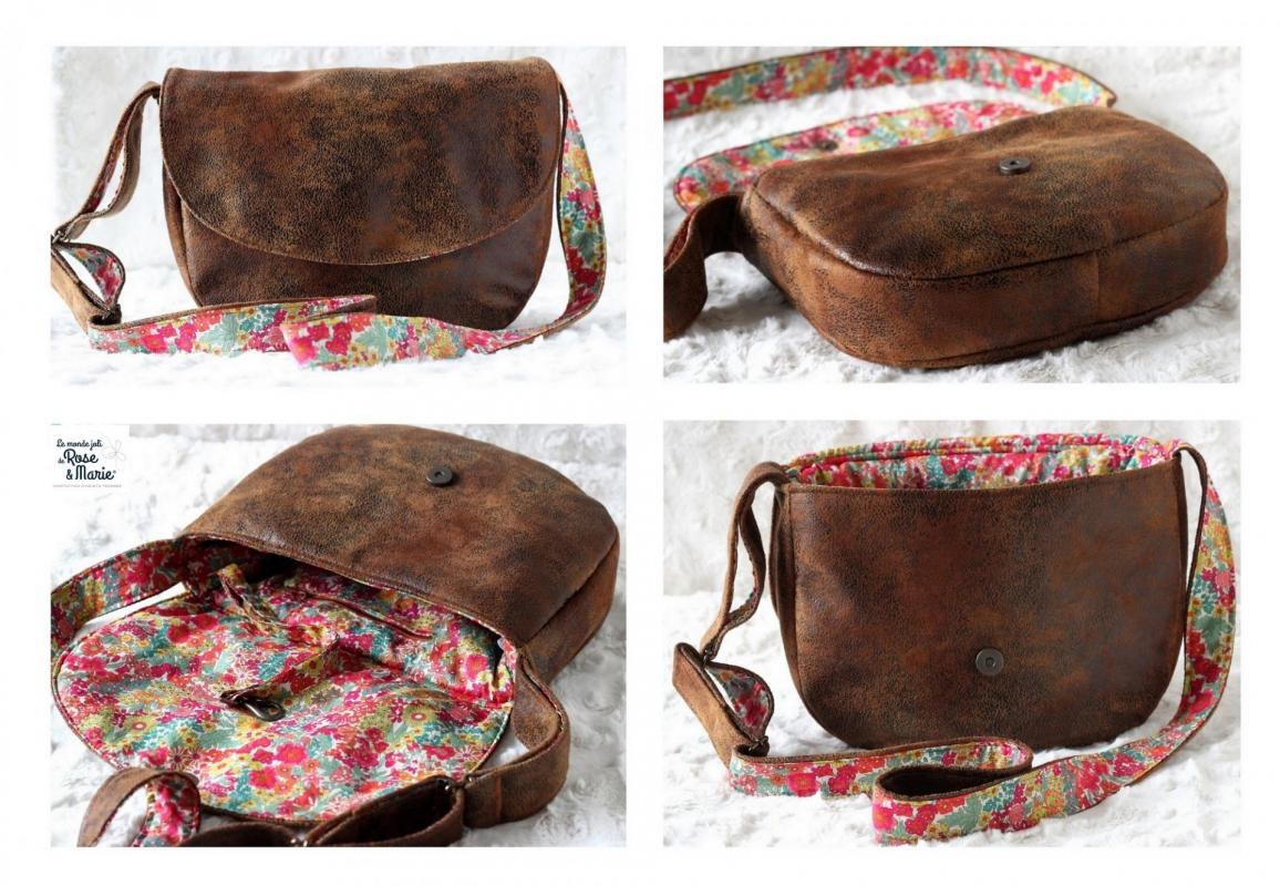Sac besace rond marron vintage