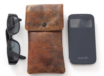Etui lunettes ou smartphone en faux cuir ameublement, marron clair et Liberty Bobo
