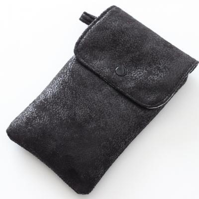 Grand Etui pour smartphone en faux cuir ameublement, noir et Liberty Mitsi gris clair