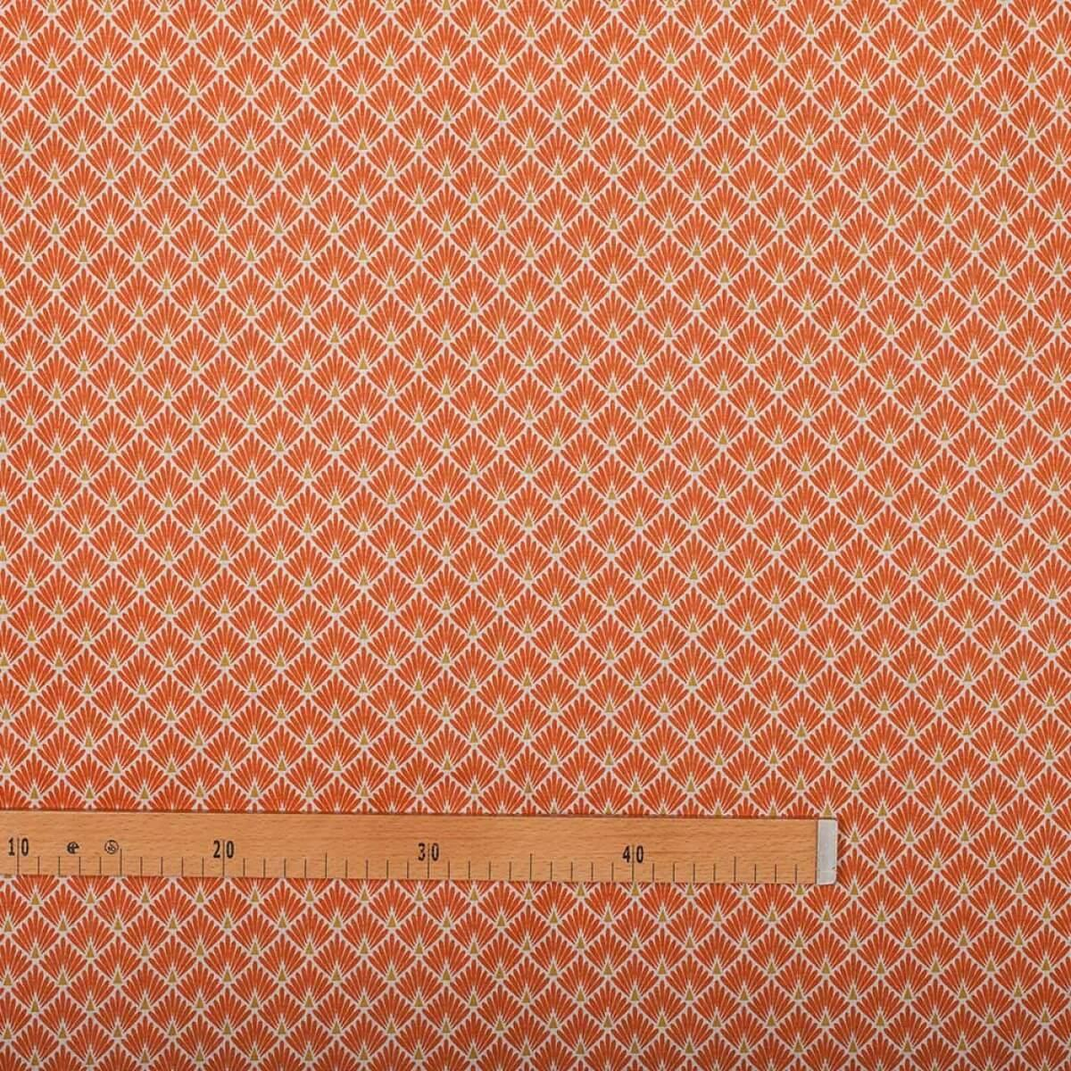 Tissu coton cretonne ecailles dorees orange