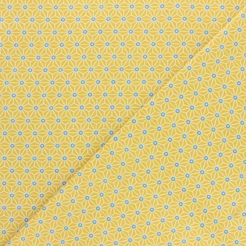 Tissu coton cretonne enduit saki jaune x 10cm