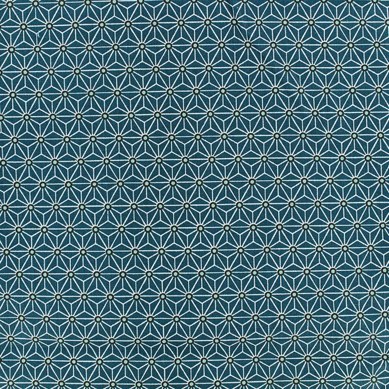 Tissu coton cretonne saki bleu canardblanc x 10cm