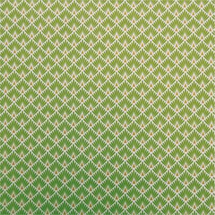 Tissu coton imprime ecaille vert